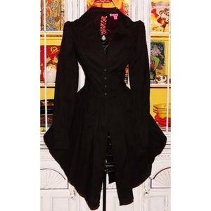 BETSEY JOHNSON—black corset lace up shirt/jacket
